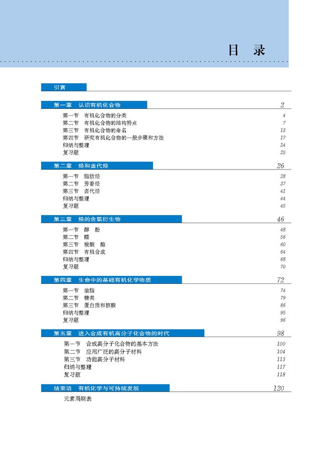 目次_人教版高中化学选修5
