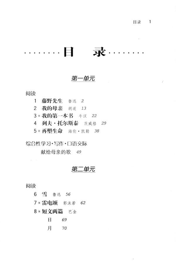 目录 人教版八年级语文下册图片